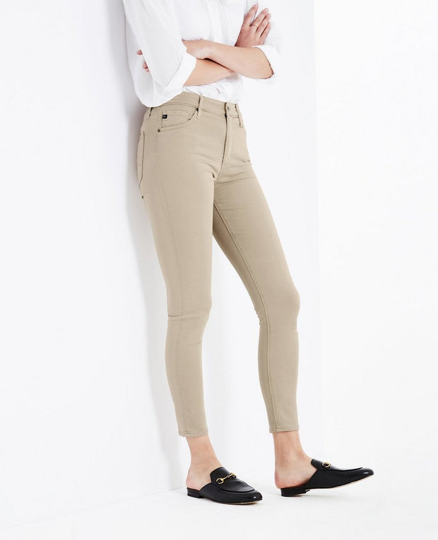 AG Jeans - The Farrah High-Rise Skinny Crop in Tan