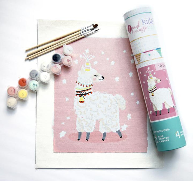 Lily Llamacorn Kit for Kids | Pink Picasso Paint by Numbers Kits | Fruit of the Vine Boutique