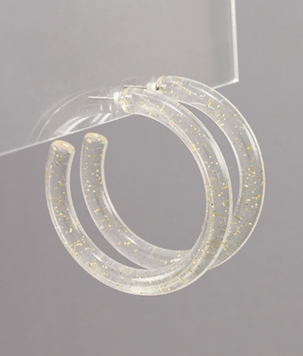 Lucite Flake Tube Hoops