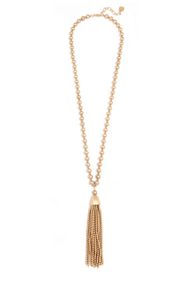 Matte Gold Beaded Necklace With Tassel