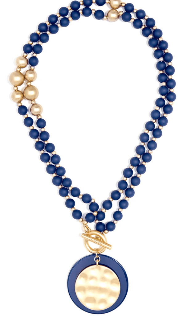 Resin & Matte Coin Navy Beaded Necklace