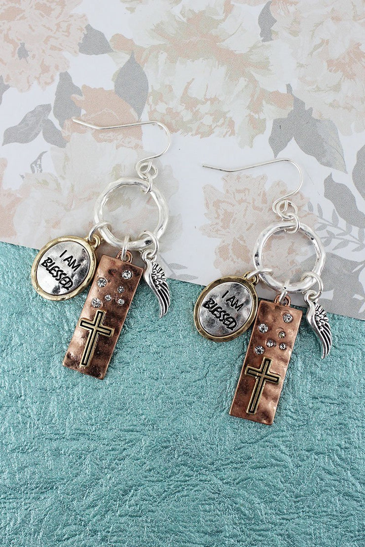 'I Am Blessed' Charm Earrings