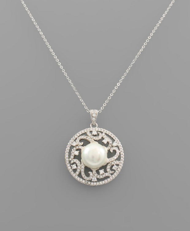 Pearl & CZ Filigree Disc Necklace | Fruit of the Vine Boutique