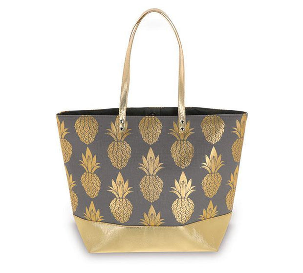 Gray & Gold Pineapple Canvas Tote Bag
