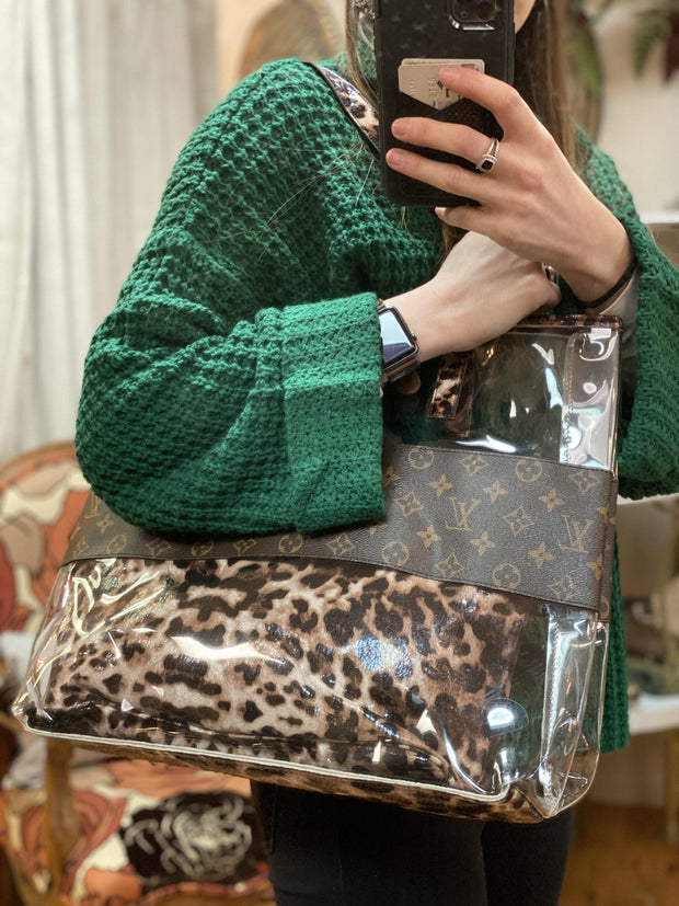 Repurposed LV Clear Tote Bag in Leopard