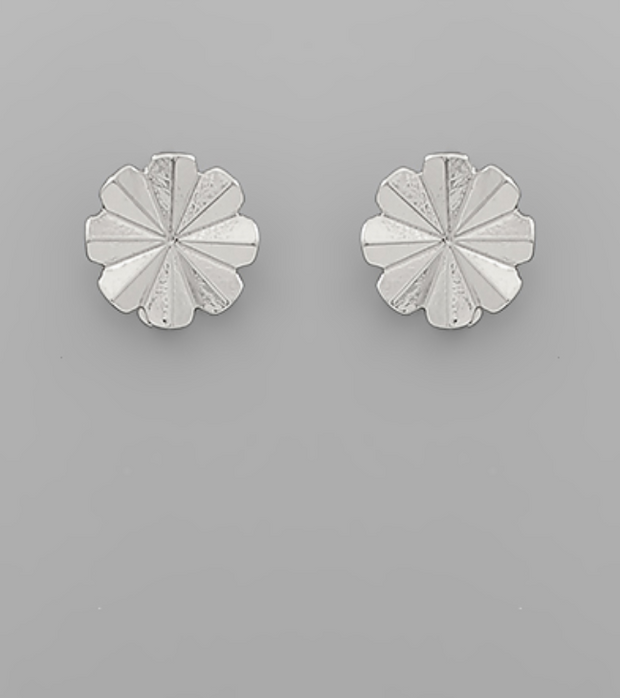 Brass Folded Floral Disc Earring
