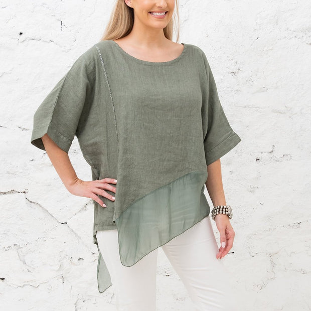 Roslyn Linen and Silk Top in Sage - Fruit of the Vine