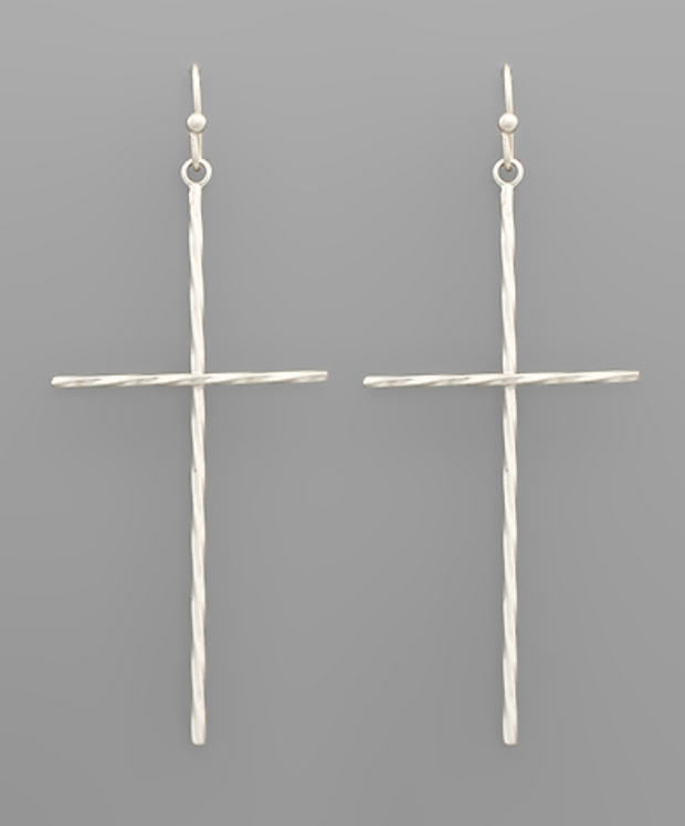 Brass Twisted Cross Earrings