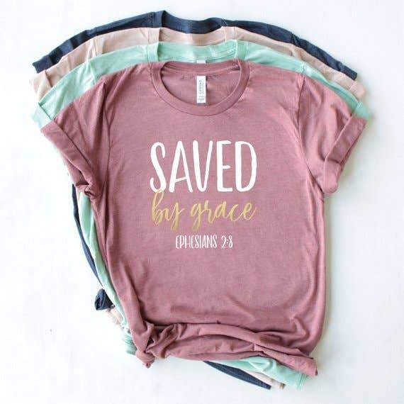 Mauve Saved by Grace Christian T-shirt - Fruit of the Vine