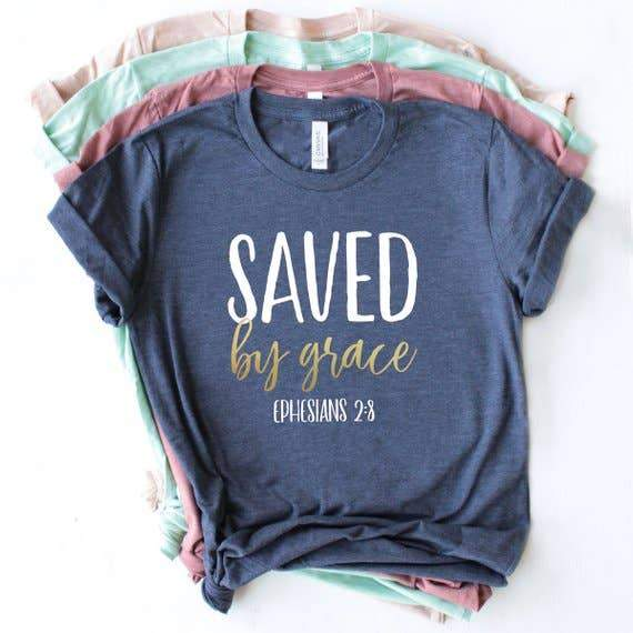 Navy Saved by Grace Christian T-Shirt - Fruit of the Vine