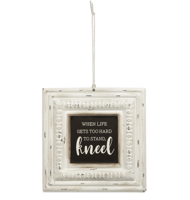 Kneel Pressed Tin Sign - Fruit of the Vine