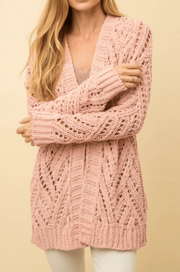 Mystree Cable Open Front Cardigan Rose