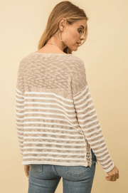 Mystree Taupe Pullover Striped Sweater - Fruit of the Vine