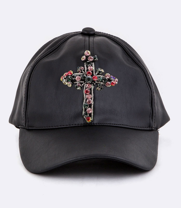 Black Hat with Rhinestone Cross