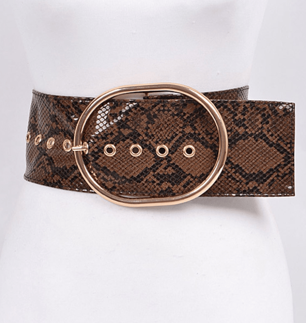 Super Wide Brown Snakeskin Belt - Fruit of the Vine