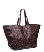 Chocolate Snakeskin Tote - Fruit of the Vine