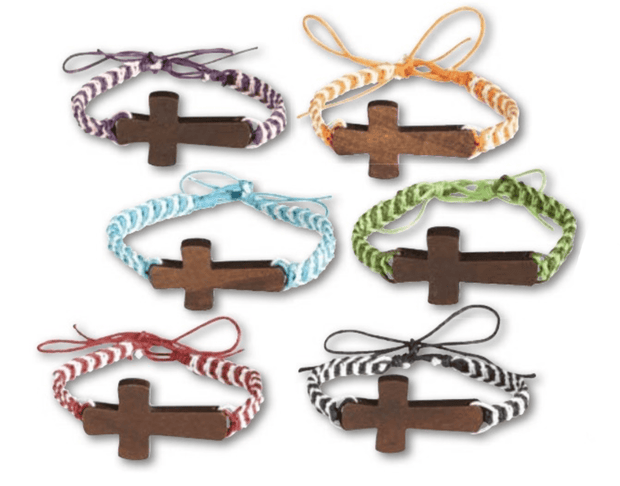 Threads of Faith Wood Cross Cord Bracelet