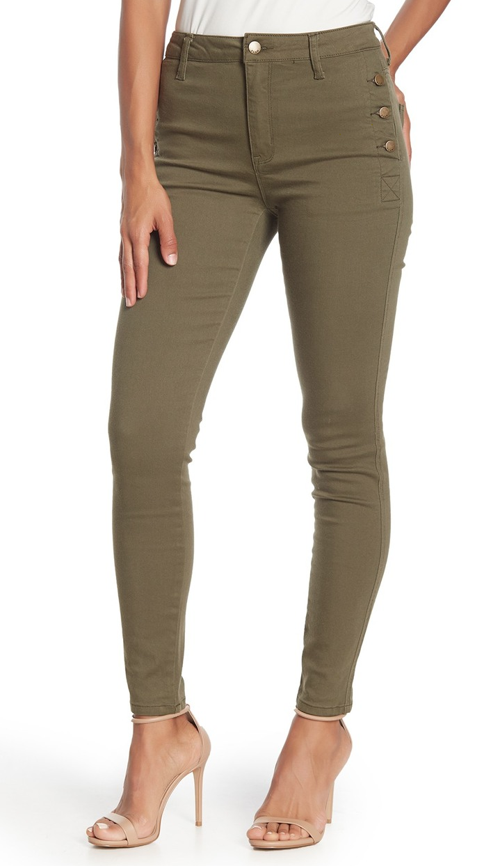 Elan Olive Side Button Skinny Jeans