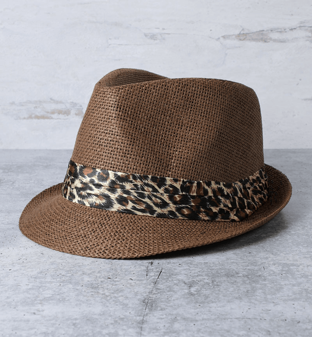 Animal Print Trilby Straw Hat
