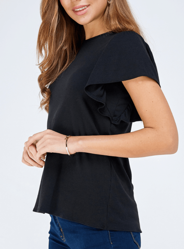 Daria Flutter Sleeve Top - Fruit of the Vine