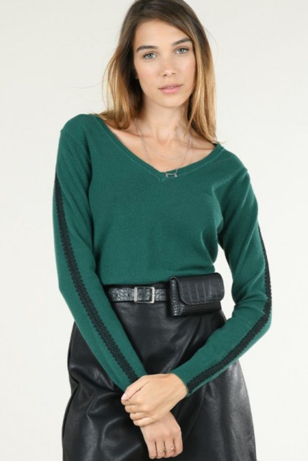Lace Trimmed Sweater in Dark Green