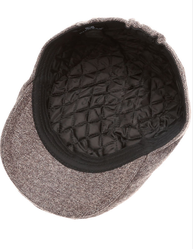 Twill Herringbone Wool Blend Newsboy Hat