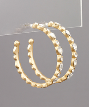 Gold Hoops with Clear Stones