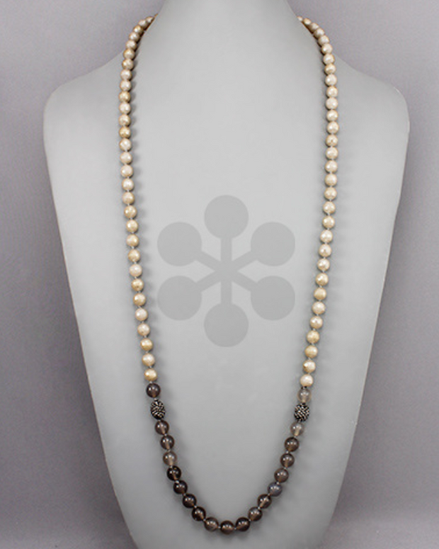 Pave Stone Beaded Necklace