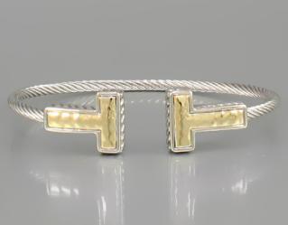 Silver and Gold Cable T-Cuff