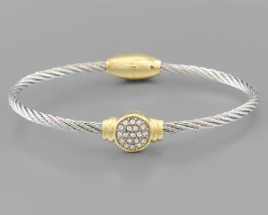 Crystal Pave Disc Cable Bracelet