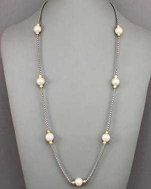 Pearl Ball and Box Chain Necklace
