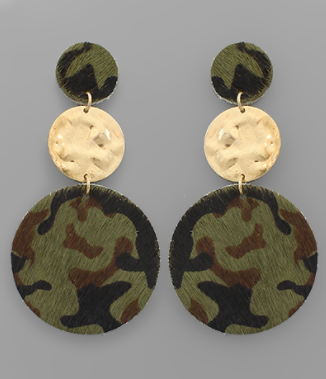 Camo Leather and Gold Disc Earrings