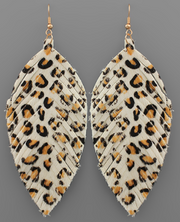 Spotted Leather Feather Earrings