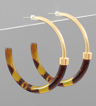 Gold and Tortoise Hoop Earrings