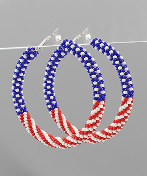 Beaded USA Hoop Earrings