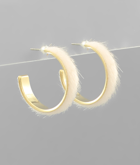 Fur Covered Hoop Earrings