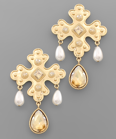 Cross and Teardrop Dangle Earrings