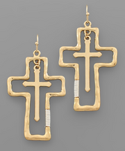 Cross Outline Earrings | Fruit of the Vine Boutique