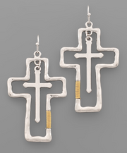 Cross Outline Earrings