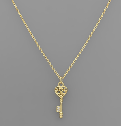 Brass Heart Key Necklace