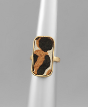 Rectangle Cow Hide Rings | Fruit of the Vine Boutique