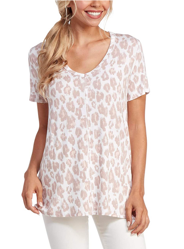 Carson T-Shirt in Blush Leopard | Mud Pie