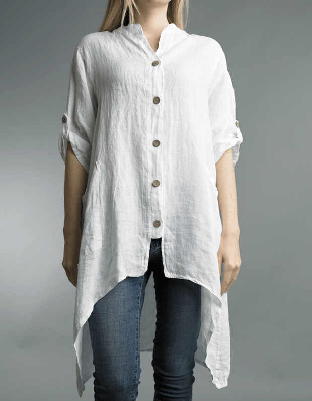 Written in the Sand Hi-Lo Linen Tunic