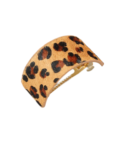 Animal Print Leather Hair Clips
