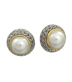 Pearl Studs with Braided Accent