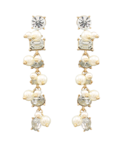 Pearl and Multi-Crystal Earrings