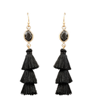 Tiered Tassel and Stone Earrings