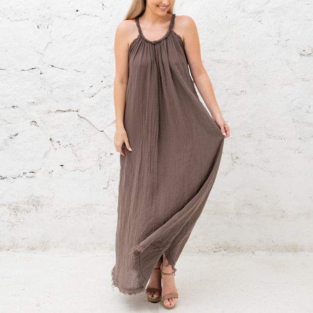 Serena Linen Maxi Dress in Taupe - Fruit of the Vine