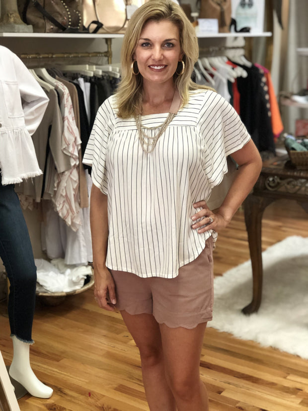 Square Neck, short dolman sleeve striped knit top from Fruit of the Vine Online Boutique. Black and white paired with mara paperbag shorts in mauve