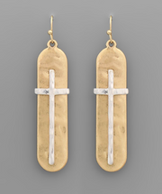 Two-tone Cross Bar Earrings